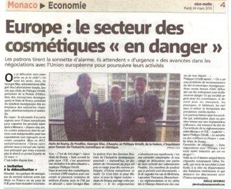 Presse : Europe : Le secteur des cosmétiques en danger (Monaco Matin)