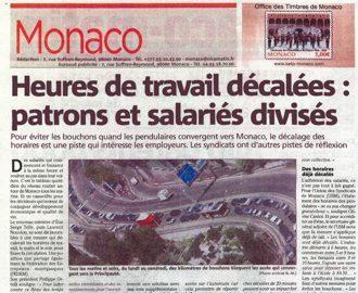 Presse : Interview du Président dans Monaco Matin sur les horaires décalés