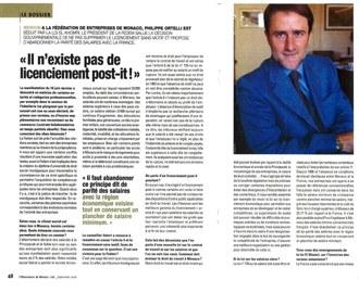 Presse : Interview du Président dans L\'Observateur de Monaco de septembre 2016