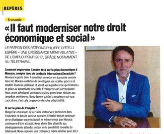 Presse : Interview du Président dans L'Observateur de Monaco de janvier 2017