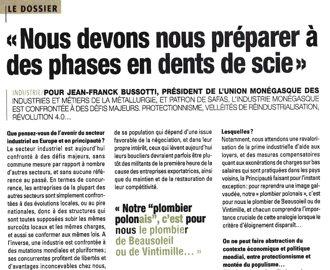 Presse : Interview de JF Bussotti (UNIMET) sur les défis majeurs de l\'industrie à Monaco