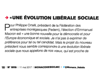 Presse : Intervention du Président dans Monaco Hebdo sur l\'élection française