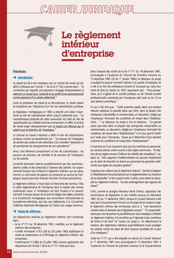 Cahier juridique mbn 60 et 2017 fedem for Reglement interieur entreprise pdf