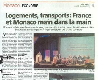 Presse : la Conférence-Débat FEDEM du 14 novembre dans Monaco Matin