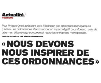 Presse : Interview du Président sur les Ordonnances Macron (Monaco Hebdo)