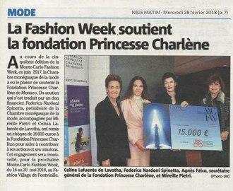 Presse : Nice Matin : La Fashion Week soutient la Fondation Princesse Charlène