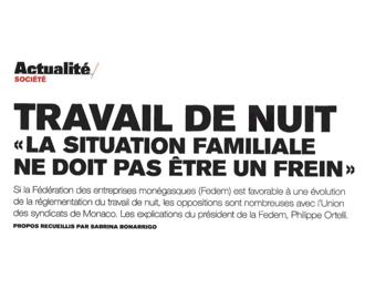 Presse : le Travail de Nuit dans Monaco Hebdo
