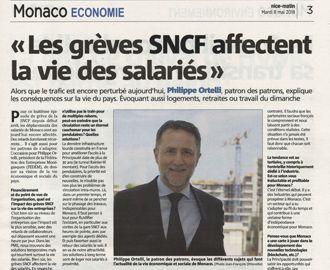 Presse : Interview du Président dans Monaco Matin sur les grèves SNCF et les questions économiques et sociales