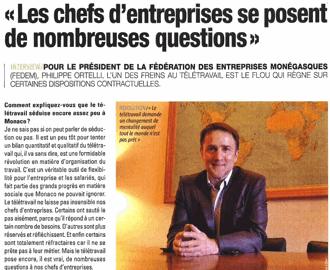 Presse : Interview du Président sur le Télétravail dans l\'Observateur de Monaco