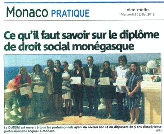 Presse : Ce qu\'il faut savoir sur le Diplôme d\'Université de Droit Social Monégasque dans Monaco Matin