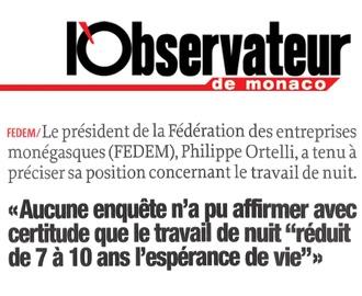 Presse : Communiqué de la FEDEM sur le travail de nuit dans l\'Observateur de Monaco