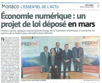 Presse : Monaco Matin : Rencontre de Frédéric Genta avec la FEDEM