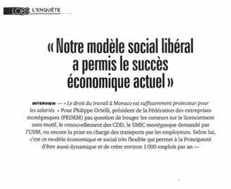 Presse : Interview du Président dans L'Observateur de Monaco sur les conditions du succès économique du pays