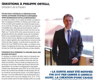 Interview du Président de la FEDEM dans Monaco Hebdo sur la création de la Caisse de Retraite Complémentaire