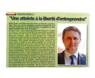 Presse : Interview du Président de la FEDEM dans La Principauté sur la requête en annulation de la loi n°1488