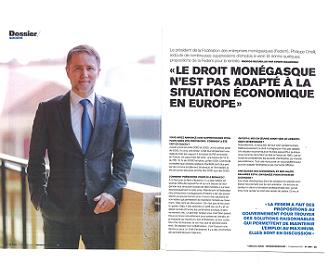 Interview du Président dans Monaco Hebdo sur la rentrée sociale
