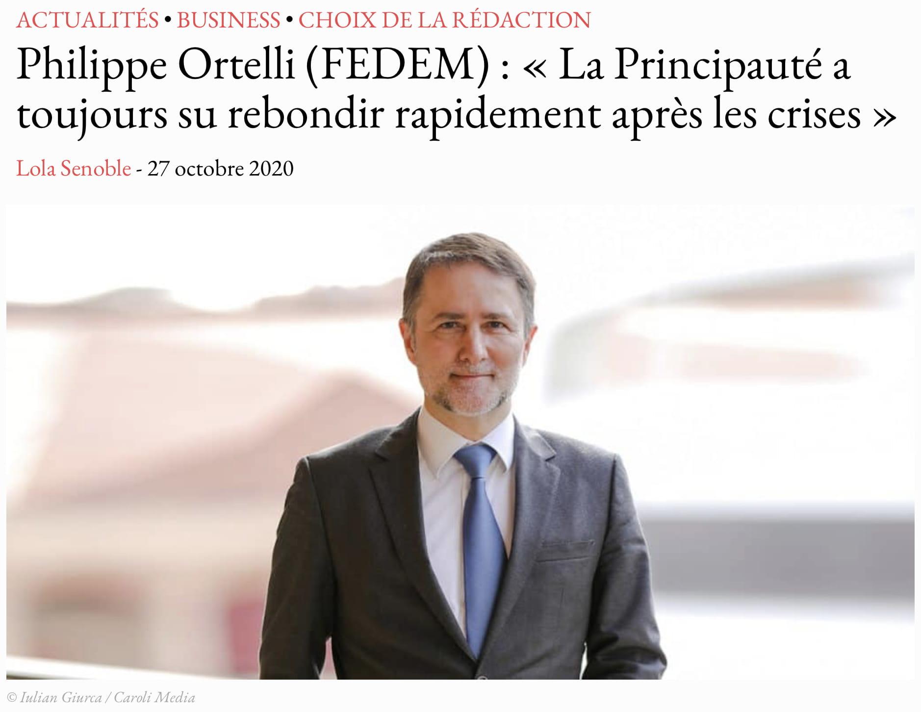 Interview du Président Ortelli dans Monaco Tribune du 27 octobre 2020