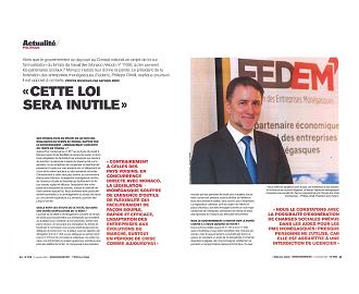 Interview du Président de la FEDEM dans Monaco Hebdo n°1172
