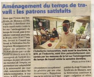 Précisions de la FEDEM dans Nice Matin suite au vote de la Loi introduisant l\'aménagement du temps de travail