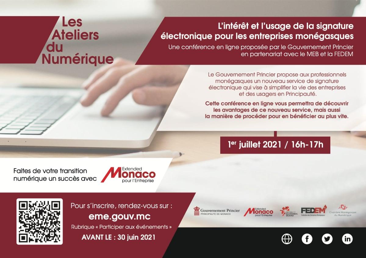 Atelier du Numérique du 1er Juillet spécial Signature Electronique
