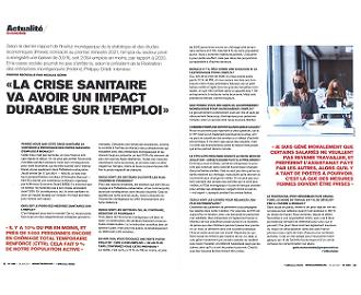 Interview du Président dans Monaco Hebdo suite à la parution du Bulletin de l'Economie du 1er trimestre 2021 de l'IMSEE