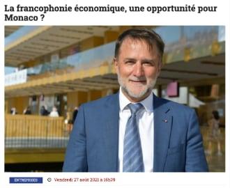 Interview du Président dans Tribuca : La francophonie économique, une opportunité pour Monaco ?